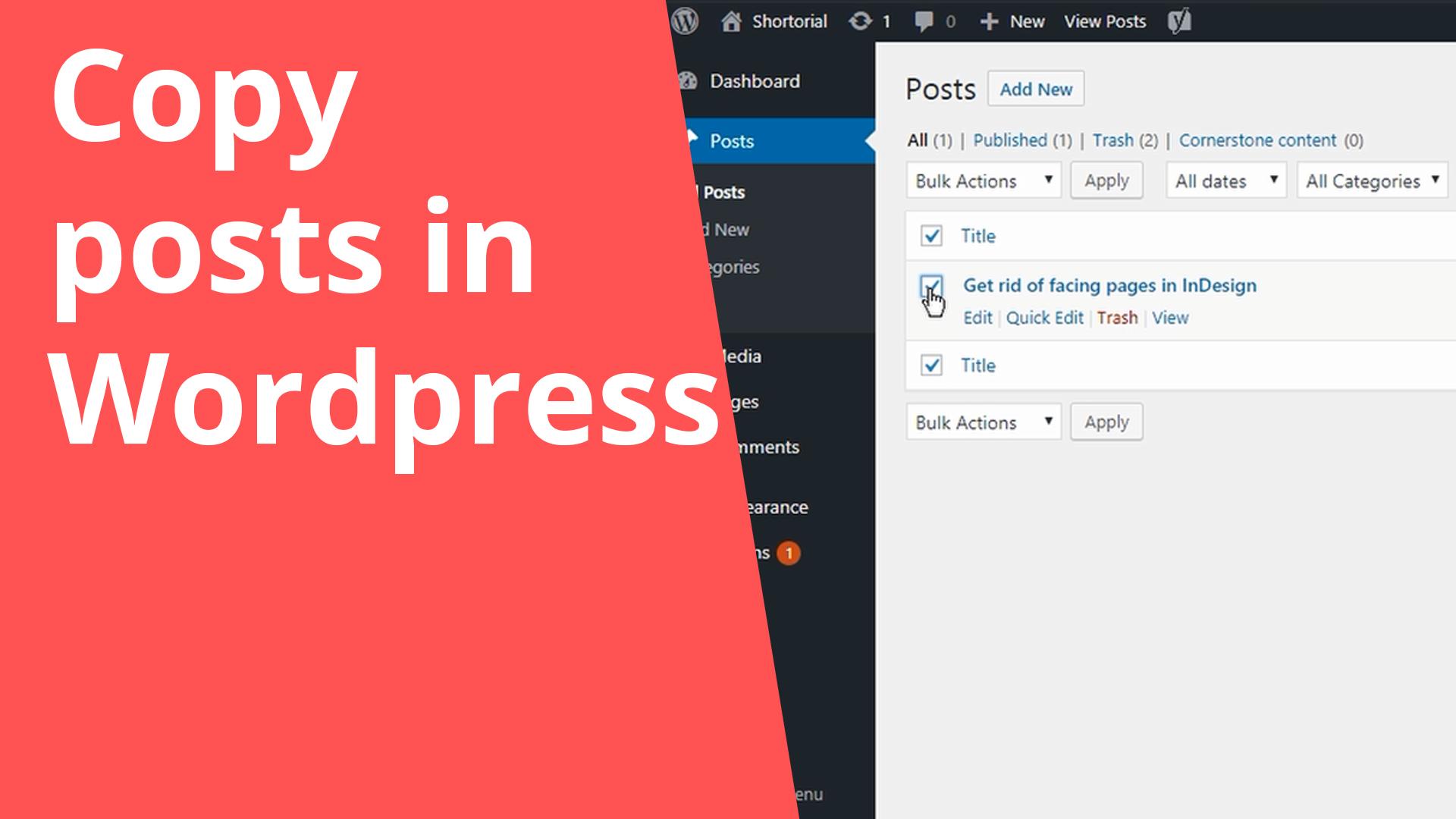 Copy posts in Wordpress