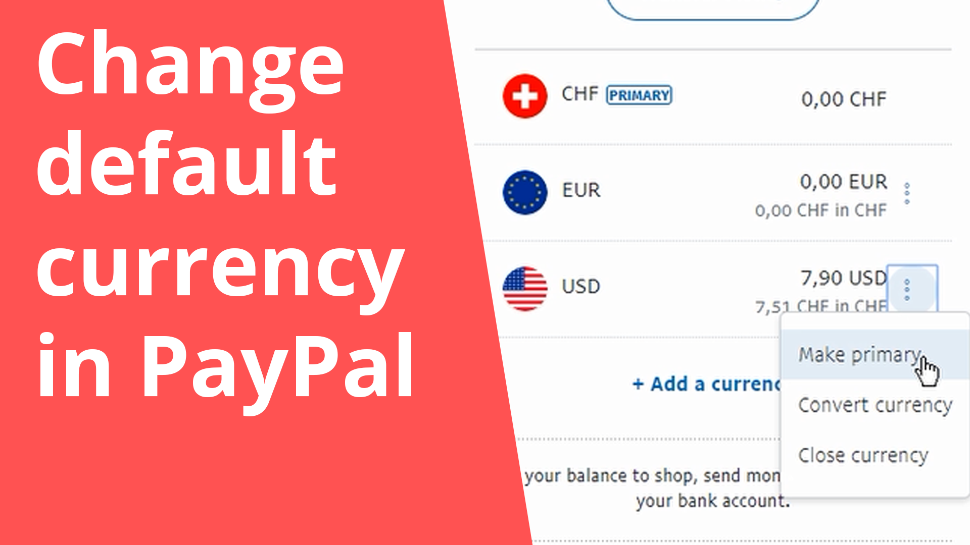 Change default currency in PayPal
