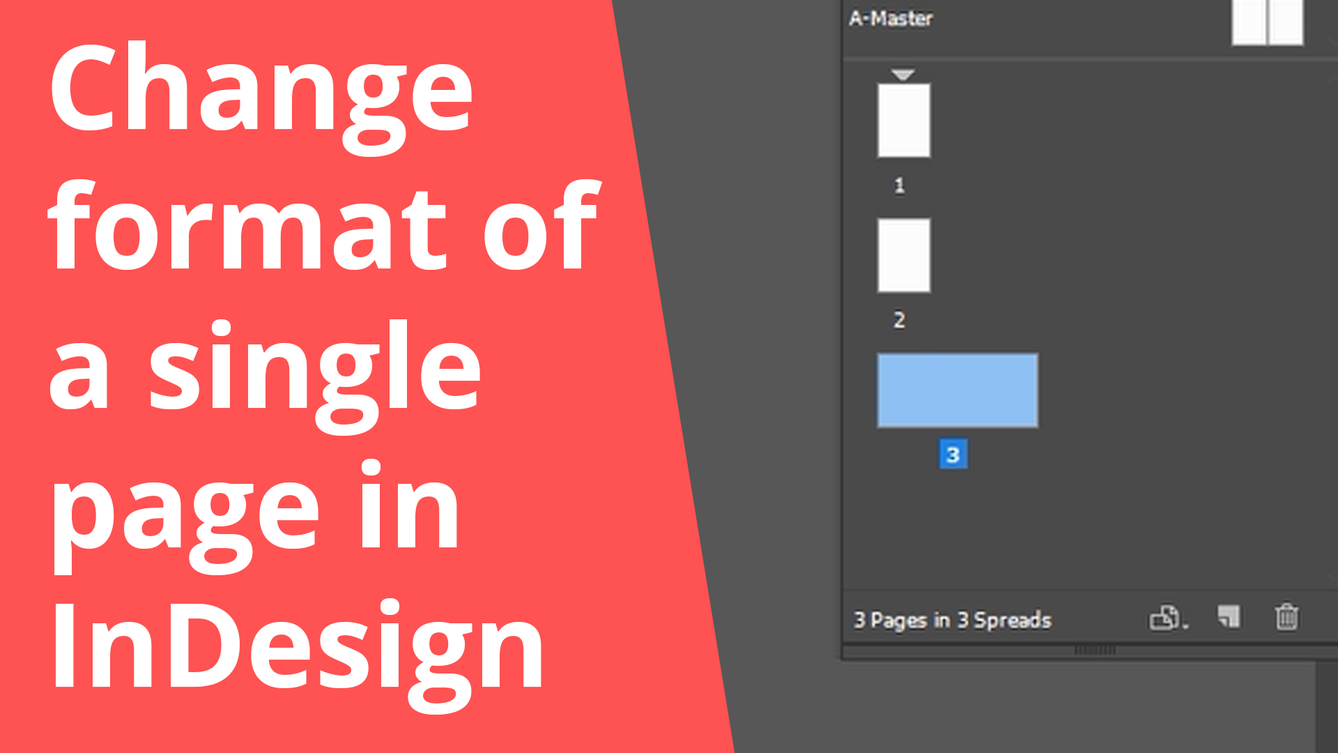 Change the format of a single page in InDesign