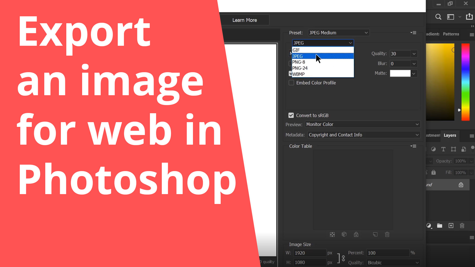 Export an image for a website in Photoshop